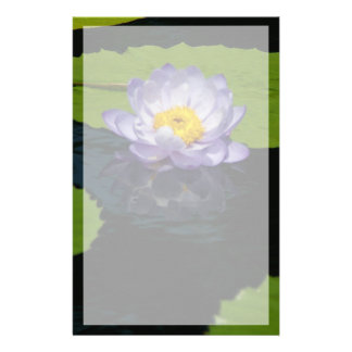 Cobalt Blue Lotus Waterlily Flower Stationery