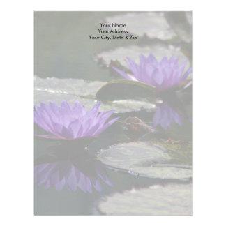 Cobalt Blue Lotus Waterlily Flowers Letterhead