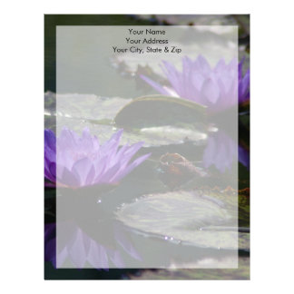 Cobalt Blue Lotus Waterlily Flowers Letterhead