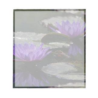 Cobalt Blue Lotus Waterlily Flowers Notepad