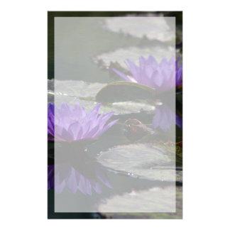 Cobalt Blue Lotus Waterlily Flowers Stationery