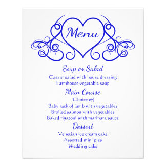 Cobalt Blue Menu Floral Heart Wedding Party