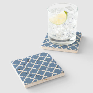 Cobalt Blue Moroccan Tile Trellis Stone Coaster