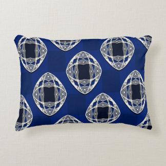 Cobalt Blue Nouveau Checked Pattern Accent Pillow