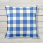 Cobalt Blue Outdoor Pillows - Gingham Pattern