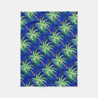 Cobalt Blue Palm II Fleece Blanket