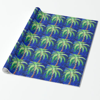 Cobalt Blue Palm Tree Gift Wrapping Paper