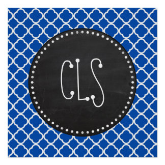 Cobalt Blue Quatrefoil; Retro Chalkboard Poster