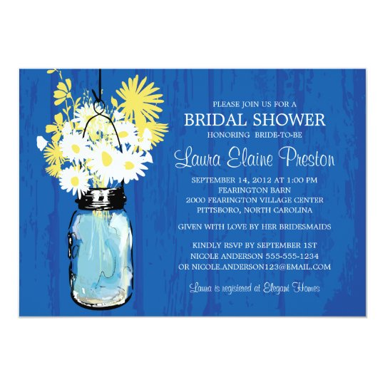 Cobalt Blue Rustic Mason Jar and Yellow Daisies Card