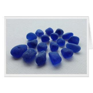 Cobalt Blue Sea Glass Spiral Greeting Card