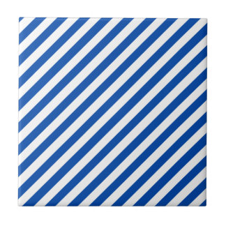 Cobalt Blue Solid Color & White Stripes Tile