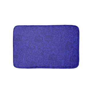 Cobalt Blue Tudor Garden Floral Damask Bath Mat