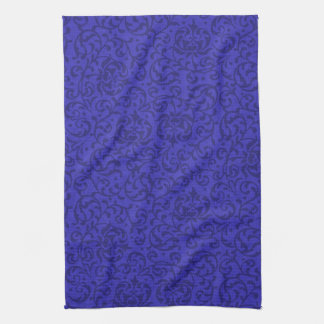 Cobalt Blue Tudor Garden Floral Damask Kitchen Towel