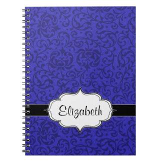 Cobalt Blue Tudor Garden Floral Damask Spiral Notebooks