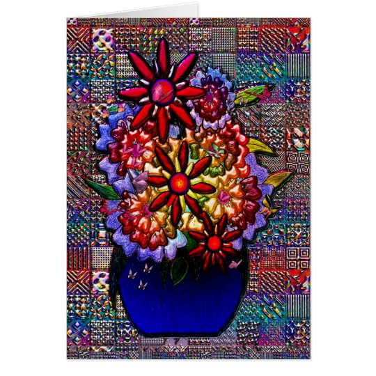 Cobalt Blue Vase with Flowers Card