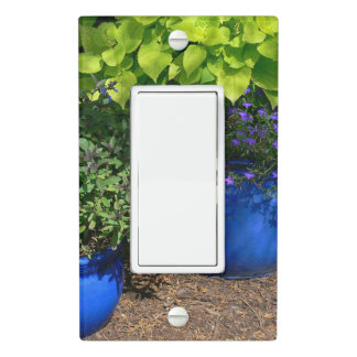 COBALT BLUE VASES WITH PURPLE AND GREEN PLANTS LIGHT SWITCH COVER