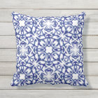 Cobalt Blue Watercolor Spanish Tile Pattern Throw Pillow