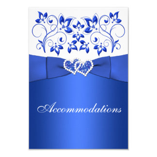 Cobalt Blue, White Floral, Hearts Enclosure Card