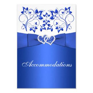 "Cobalt Blue, White Floral, Hearts Enclosure Card 3.5"" X 5"" Invitation Card"