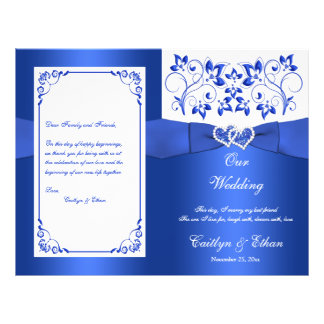 Cobalt Blue, White Floral Hearts Wedding Program
