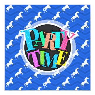 "Cobalt Blue, White Horse, Equestrian, Chevron 5.25"" Square Invitation Card"