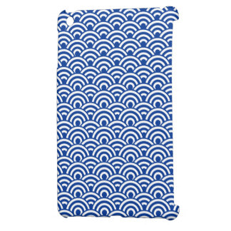 Cobalt Blue White Japanese Wave Pattern iPad Mini Covers