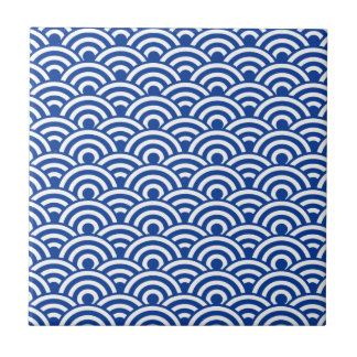 Cobalt Blue White Japanese Wave Pattern Tile