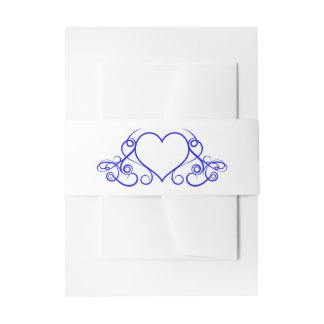 Cobalt Blue & White Love Floral Heart Wedding Invitation Belly Band