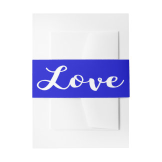 Cobalt Blue & White Love Wedding Invitation Invitation Belly Band