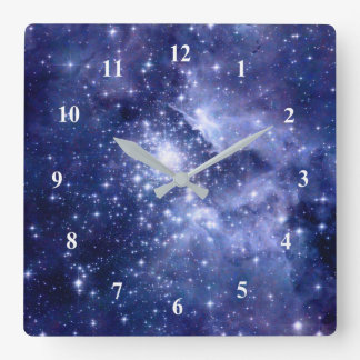 Cobalt Dreams Stars Galaxies Deep Space Universe Square Wall Clock