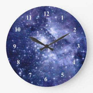 Cobalt Dreams Stars Galaxies Space Universe Large Clock