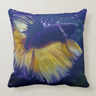 Cobalt Male Betta Polyester Throw Pillow