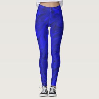 Cobalt Marble Pattern Royal Indigo Blue leggings