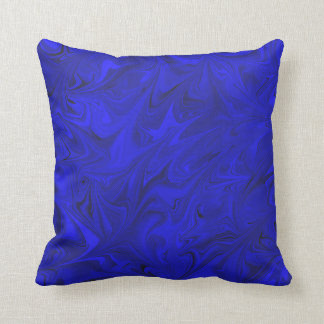 Cobalt Marble Pattern Royal Indigo Blue Pillow