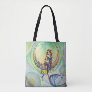 Cobalt Moon Mermaid Fantasy Art Tote Bag