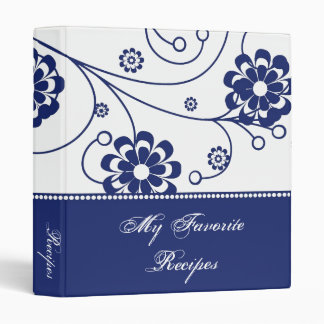 Cobalt Scroll Blooms Recipe Book 3 Ring Binder