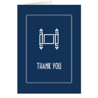 Cobalt Simple Torah Thank You Card