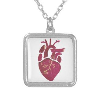 Cobalt Violet Heart Silver Plated Necklace
