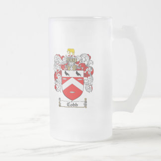 COBB FAMILY CREST -  COBB COAT OF ARMS FROSTED GLASS BEER MUG