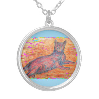 cobblestone cat silver plated necklace