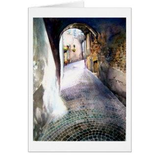 "Cobblestone Corridor Greeting Card 5"" x 7"""