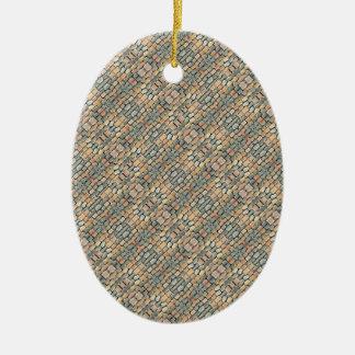 Cobblestone Geometric Texture Ceramic Oval Ornament