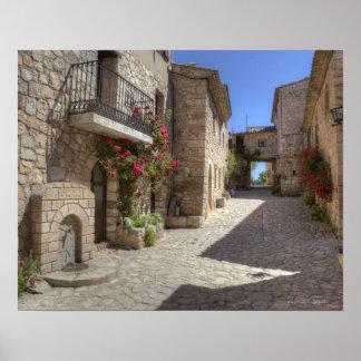 Cobblestone street, stone buildings, historic poster