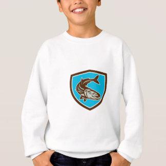 Cobia Fish Diving Down Shield Retro Sweatshirt