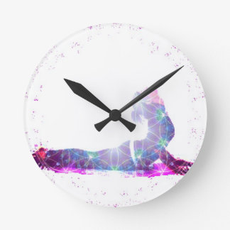 Cobra Universe Yoga Pose Series Round Clock