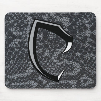 """Cobraman black snake skin mousepad logo """"C"""""""