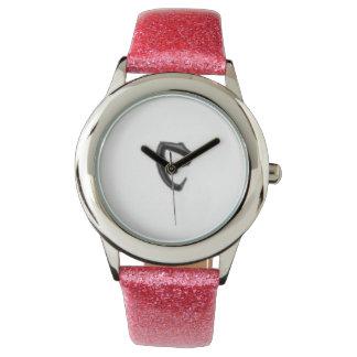 """Cobraman pink watch girls. Black """"C"""""""