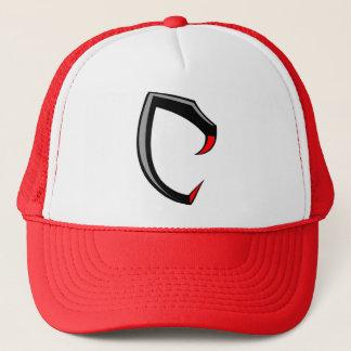 """Cobraman red snake fanged logo """"C"""" trucker hat"""