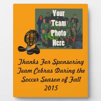 Cobras Team Sports Plaque For Sponsors & Awards -