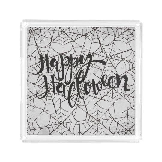 Cobwebs Happy Halloween Acrylic Tray